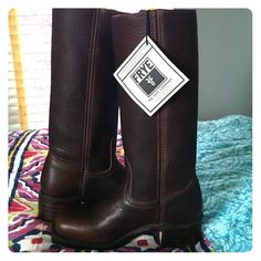 Frye Campus 14L Boots I am reposting these fabulous boots because they are a tad too big. Brand new, never worn in a great shade of brown. Made in USA!  Iconic Frye boots. Frye Shoes Heeled Boots