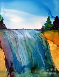 Alcohol Ink Painting - Waterfall by Beth Kluth Watercolor Paintings For Beginners, Beginner Painting, Watercolor Techniques, Watercolor Landscape, Watercolor And Ink, Alcohol Ink Tiles, Alcohol Ink Crafts, Alcohol Ink Painting, Alcohol Inks