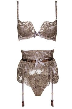 Agent Provocateur Soiree collection 'Gardinia' bra, £295; waspie, £425; and thong, £125.