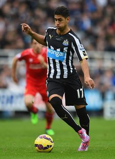 Ayoze Perez of Newcastle United in action during the Barclays Premier League match between Newcastle United and Liverpool at St James' Park on November 2014 in Newcastle upon Tyne, England. World Football, Football Players, Newcastle United Football, St James' Park, Brighton & Hove Albion, Barclay Premier League, Premier League Matches, Black N White, Liverpool