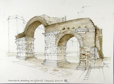 Thessaloniki, Arch of Galerius Building Drawing, Thessaloniki, Urban Sketching, Ancient Greek, Art Sketches, Watercolor Art, Architecture Design, Journaling, Backdrops