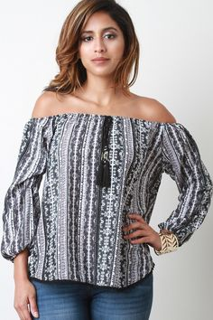 Aztec Off the Shoulder Long Sleeves Blouse