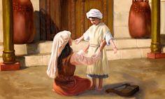 Ana, en el tabernáculo, poniéndole una vestidura sin mangas al pequeño Samuel