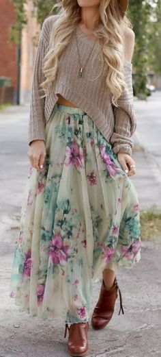 Floral Skirt + Over-sized Crop Sweater + Leather Ankle Booties