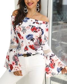 Women's Frill Hem Bell Sleeve Floral Print Blouse Description Style:Fashion Pattern Type:Floral Material:Polyester Neckline:Off Shoulder Sleeve Style:Long Sleeve Decoration:Ruffles Length:Regular Occasion:Casual Package Blouse Size Gu Look Fashion, Autumn Fashion, Womens Fashion, Fashion Trends, Fashion Clothes, Trending Fashion, Latest Fashion, Fashion Outfits, Dress Outfits