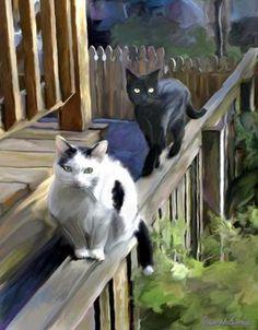 Cats Fencing Art Print