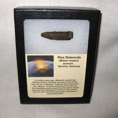 Meteorite Impact Belemnite #7 $35.00 Description Jurassic Age Belemnite Miocene Age Meteorite Impact Ries Meteor Crater Western Bavaria, Germany The specimen measures approx. 1 5/16″ long and will come in the 3.25″ x 4.25″ Riker Mount with Label as Shown