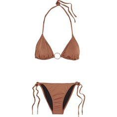 MELISSA ODABASH   Miami printed triangle bikini (155 AUD) ❤ liked on Polyvore featuring swimwear, bikinis, low rise bikini swimwear, low rise bikini, melissa odabash swimwear, triangle bikini swimwear and bikini swimwear
