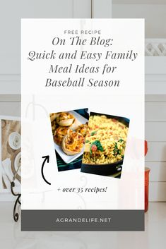 Quick and Easy Family Meal Ideas for Baseball Season - A Grande Life Appetizer Recipes, Snack Recipes, Dessert Recipes, Snacks, Desserts, Easy Family Meals, Easy Meals, Meal Ideas, Dinner Ideas