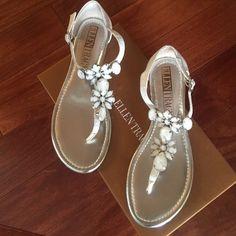 Ellen Tracy Sandal sz 6 Ellen Tracy white animal print jeweled thong sandal buckle straps sz 6 new with box Ellen Tracy Shoes