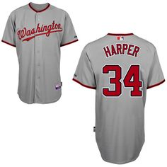 Nationals #34 Bryce Harper Grey Cool Base Embroidered MLB Jersey