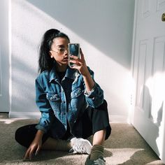 """Denim flyness with @jennalyyy #vibewithgoldsoul"""