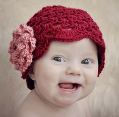 Cluster Stitch Hat with NO-SEW Rose Crochet Pattern -- Multiple sizes from newborn to age 3