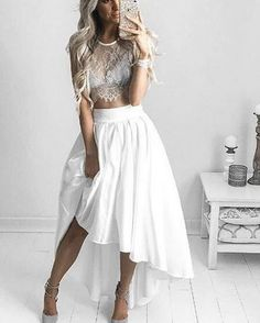 White perspective sexy lace short sleeved shirt dress irregular two piece