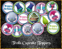 Trolls Cupcake Toppers Troll Cupcakes, Cupcake Toppers, Etsy Store, My Design, Vibrant Colors, Banner, Happy Birthday, Diy, Funny