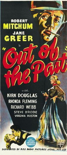 Out of the Past (AKA Build My Gallows High) 1947 all time great film noir directed by Jacques Tourneur starring Robert Mitchum, Jane Greer and Kirk Douglas. adapted by Daniel Mainwaring.  A classic due to convoluted, dark storyline, dark cinematography and classic femme fatale.   Joe Stefanos (Paul Valentine) arrives at small, out-of-the-way Bridgeport, California, in search of Jeff Bailey (Mitchum) and  informs Jeff that Whit Sterling (Kirk Douglas) wants to see him. Jeff has a past with…