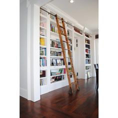 Quiet Glide 9 Ft Red Oak Removable Rolling Ladder with Rail Kit Rail Finish: Bronze, Rail Length: 12 Ft, Mounting Bracket Style: Horizontal Home Library Rooms, Home Library Design, Cozy Home Library, Small Home Libraries, Library Bedroom, Public Libraries, Library Ladder, Library Wall, Closet Library