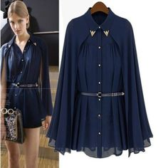 Cheap blusas femininas, Buy Quality chiffon blouse directly from China blouse fashion Suppliers: 2016 Fashion Blusas Leisure Women shirts Shawl Cape-Style Chiffon Blouse Sun Protection Clothing Blusas Femininas 20 Chiffon Shirt, Chiffon Tops, Style Bleu, Navy Style, Dresses For Less, Mode Hijab, Blouses For Women, Cheap Blouses, Ideias Fashion