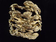 NWB-RACHEL-ZOE-Gold-And-Crystal-Wide-Leaf-Hinged-Bangle-Bracelet