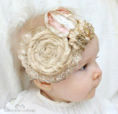 Rolled & Pink Rose Baby Headband