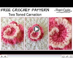 Two-Tone Carnation Free Crochet Pattern - Right Handed