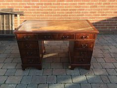 Antique Style Leather Top Writing Desk Mahogany Chesterfield **FREE UK P&P** in Antiques, Antique Furniture, Desks | eBay
