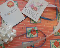 Peach Flower Gift Wrap Kit  Wrapping Paper, Tags, Ribbons, Bow