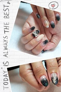 Fall collection Nail art design:  Mid green ombre with sticker & Swarovski,  knitting design with Matte, dark grey with Hand draw Arrow French & BIG BOW Swarovski