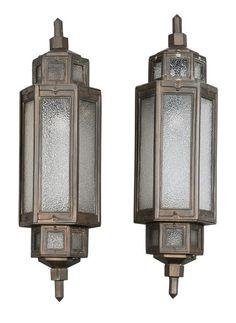 504: Pair Bronze Art Deco Exterior Lights : Lot 504