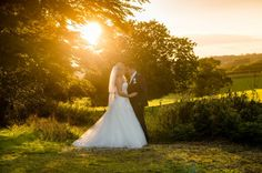 Liz & Richard's Wedding at Gaynes Park, bride and groom sunset photograph. photographed by Essex wedding photographers Expression Photography www.expression-photography.co.uk. October wedding