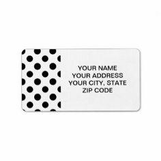 Black And White Polka Dot Address Labels & Black And White Polka Dot Mailing/Shipping Label Templates