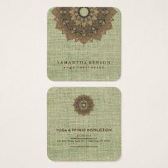 Elegant Lotus Flower Logo Yoga Square Business Card - yoga health design namaste mind body spirit