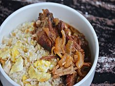 Slow Cooker Filipino Pork, SeriousEats (pork shoulder, onion, thai chili/jalapeno, garlic, brown sugar, soy sauce, white wine/apple cider vinegar, bay leaves)