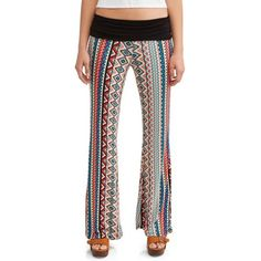 c5676d3c8c96 Juniors' Printed Peached Foldover Waistband Wide Leg Pant, Size: Large,  Multicolor Printed