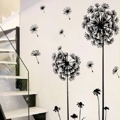 Black Removable Art Vinyl DIY Dandelion Decal Mural Wall Sticker Home Room Decor Removable Wall Stickers, Flower Wall Stickers, Wall Stickers Home Decor, Room Wall Decor, Home Decor Bedroom, Bedroom Wall, Diy Home Decor, Wall Decals, Mural Wall