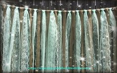 Wedding Burlap and Mint Green Lace Hanging Garlands - Swag - Rag Tie Backdrop Rustic Wedding decor - Hanging photo backdrop Prop on Etsy, $49.50