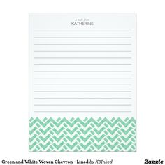 Green and White Woven Chevron - Lined - Personalized Note Card - http://www.zazzle.com/k8inked*