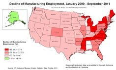 USA Manufacturing Job Decline for 2011. a few of the many possible causes... #1-drop in demand/sales (middle class can't afford to buy products), #2 MFG down-scaling, combining jobs, workers becoming more productive, lack of skilled labor, off-shoring etc.