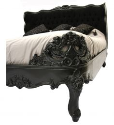 French Style Bedroom Furniture Black Bed King Size Gothic Designer interiors