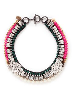VENNA - Marquise cut crystal wing collar necklace | Multi-colour Necklace