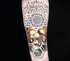 Mandala Skull tattoo by Chris Rigoni