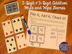 2-Digit & 3-Digit Addition Write and Wipe Games- includes seven self-checking, write and wipe games for independent or guided practice! $