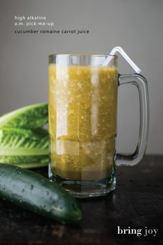 start your day with a high alkaline pick-me-up -- cucumber romaine carrot juice //  bring-joy.com  #cleanse #juicing