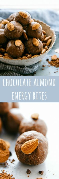 Delicious SIMPLE and healthy chocolate-covered almond energy bites -- naturally sweetened with honey
