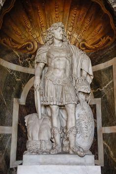 Statue of Louis XIV (the Sun King) in the Salon de Vénus at the Château de Versailles, France