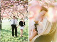 Engagement photos among the cherry Blossoms