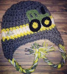 Crochet Tractor hat 9c6691342692