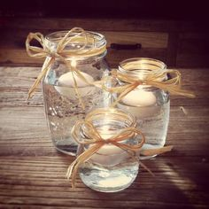 I love these Rustic/Shabby Chic Floating Candle Decoration Jars