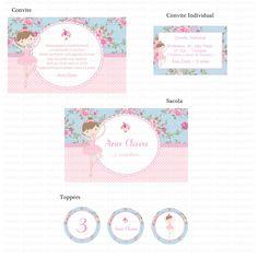 Bailarina Floral Azul e rosa