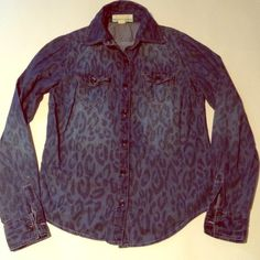 """Super cute leopard print chambray button down Mix up the classic button down with this leopard print chambray button down, amazingly cute, no longer fits sadly, will fit up to 35.5"""" bust, length is 22"""" Love Culture Tops Button Down Shirts"""